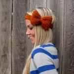 Burnt Orange Bow Headband ..