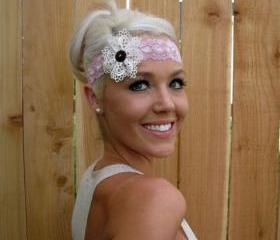 Stretch Lace Headband in Antique Rose with Lace Flower and Natural Vegan Coconut Shell Button
