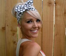 Vintage Inspired Pin Up Dolly Bow Headband With Easy Twist Wire in Michael Miller Fabric