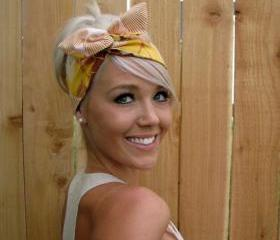 Vintage Inspired Pin Up Dolly Bow Headband With Easy Twist Wire in Amy Butler Fabric