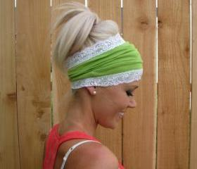 Lime Green Rayon Cotton Jersey Knit Headband with Stretch Lace Trim