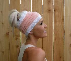Light Coral (Light Peach) Stretch Knit Headband with Stretch Lace Trim