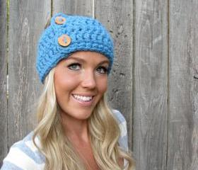 Lamb's Wool Collection - Multi Ways to Wear - Plush Wool Wrap/Neckwarmer In Sky Blue w/Handmade Reclaimed Wood Buttons-Adjustable Unisex
