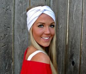 Vintage Turban Style Stretch Jersey Knit Headband in Snow White- Multi Ways to Wear