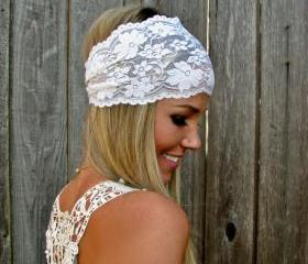 Wide Stretch Lace Fashion Headband in Ivory Cream (off white), Cute Girl Woman Boho Lace Adjustable Hair Band Accessories