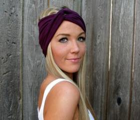 Vintage Turban Style Stretch Jersey Knit Headband in Plum - Multi Ways to Wear