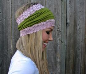 Moss Green Rayon Cotton Jersey Knit Headband with Antique Pink Rose Stretch Lace Trim