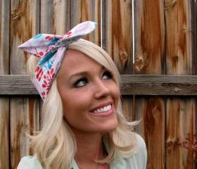 Vintage Inspired Pin Up Dolly Bow Reversible Headband With Easy Twist In Michael Miller Fabric