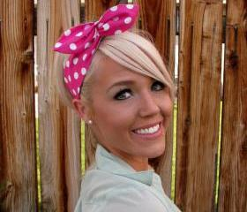 Vintage Inspired Pin Up Dolly Bow Headband With Easy Twist