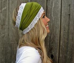 Moss Green Rayon Cotton Jersey Knit Headband with Stretch Lace Trim