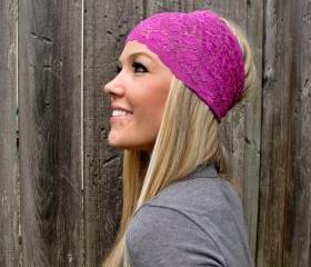 Wide Stretch Lace Headband in Juicy Berry (Magenta)