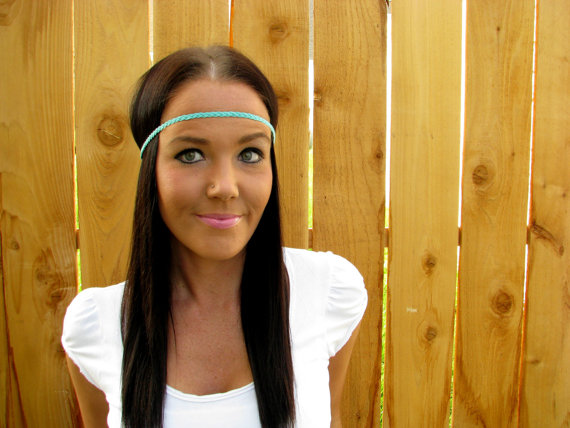 Bohemian Indie Hippie Chic Turquoise Blue Braided Cord Thin Headband ...